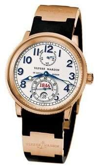 Ulysse Nardin White Dial 18kt Rose Gold Black Rubber Automatic Men's Watch