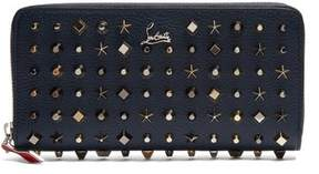 Christian Louboutin Panettone Embellished Zip Around Leather Wallet - Womens - Blue Multi
