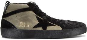 Golden Goose Deluxe Brand Black and Grey Suede Mid Star Sneakers