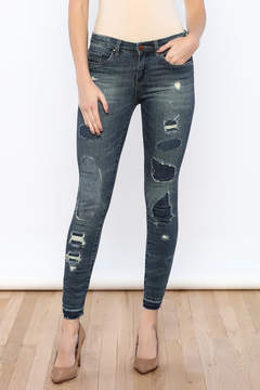 Blank Ripped Repaired Skinny Jean