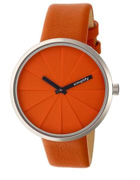 Simplify The 4000 SIM4006 Silver and Orange Leather Analog Watch