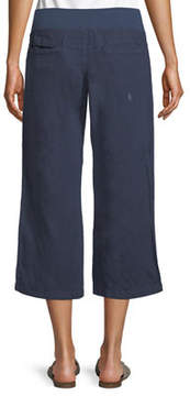 Allen Allen Cropped Linen Wide-Leg Pants