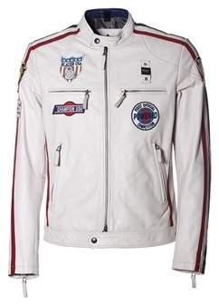 Blauer Men's White Leather Outerwear Jacket.
