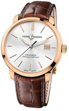 Ulysse Nardin San Marco Classico Silver Dial 18kt Rose Gold Brown Leather Men's Watch 8156-111-2-90