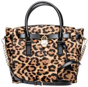 Michael Kors Hamilton Leopard Calf Hair Satchel - Butterscotch - 30F7GHMS7H-226 - AS SHOWN - STYLE