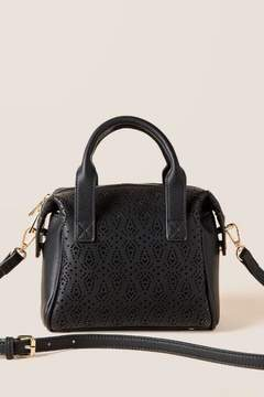 francesca's Sabrina Perforated Satchel - Black