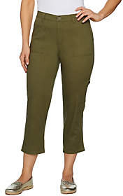 Denim & Co. Stretch Twill Crop Pant withCargo Pocket