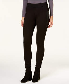 Bar III Moto Mixed-Media Leggings, Created for Macy's