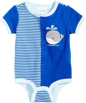 First Impressions Whale-Print Cotton Bodysuit, Baby Boys, Created for Macy's