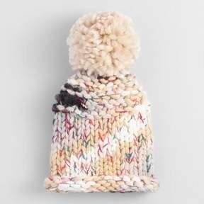 World Market Multicolor Chunky Knit Pom Hat