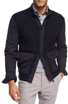 Ermenegildo Zegna Ribbed Wool Patch-Pocket Cardigan Jacket