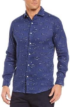 Daniel Cremieux Fish Print Linen Long-Sleeve Woven Shirt