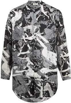 Saint Laurent Fresco-print grandad-collar silk shirt