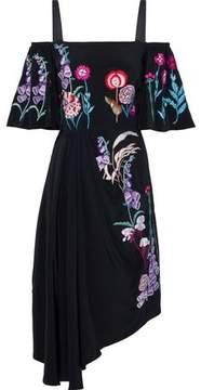 Temperley London Woodland Cold-Shoulder Gathered Embroidered Silk Dress