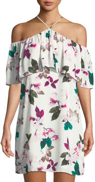 1 STATE 1.State Floral Halter-Neck Ruffle Dress