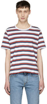 Saint Laurent Blue and Red Striped T-Shirt
