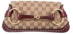 Gucci GG Canvas Large Horsebit Clutch - BROWN - STYLE