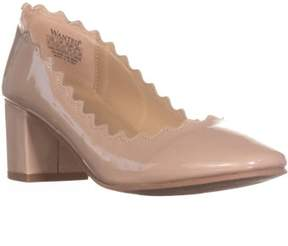 Wanted Mia Block Heel Scalloped Pumps, Taupe.