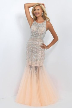 Blush Lingerie Bejeweled High Neck Tulle Trumpet Gown 11101