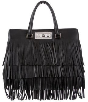 Saint Laurent Medium Trois Clous Fringe Tote w/ Tags - BLACK - STYLE