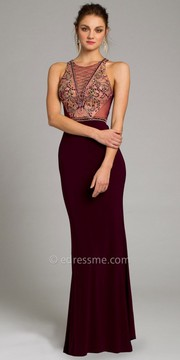 Camille La Vie Jersey Beaded Plunge Prom Dress