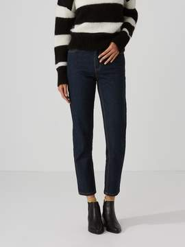 Frank and Oak The Stevie High-Waisted Tapered Jean in Dark Indigo