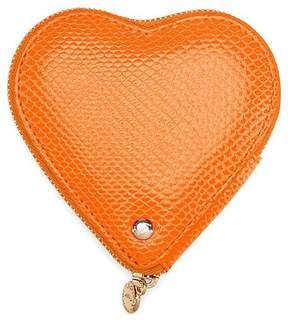 Aspinal of London | Heart Coin Purse In Orange Lizard | Orange lizard