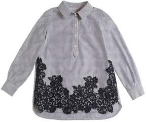 Ermanno Scervino Long Cotton Poplin Shirt W/ Lace Shirt