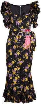 DOLCE & GABBANA Bouquet-print silk-blend crepe midi dress