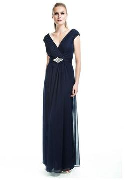 Cachet Ruched V-Neck Long Dress 56311