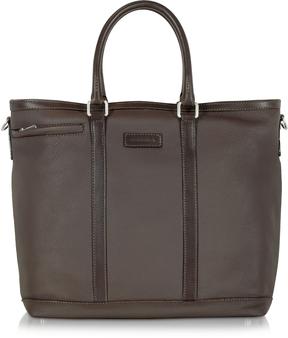 Chiarugi Dark Brown Large Leather Tote