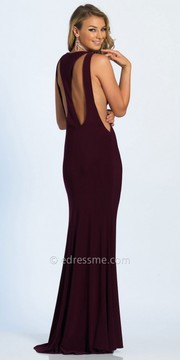 Dave and Johnny Double Cutout Side Illusion Column Evening Dress