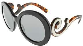 Prada Women's PR08TS-1AB1A1-55 Black Round Sunglasses