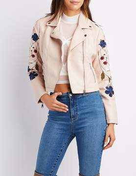Charlotte Russe Embroidered Faux Leather Moto Jacket