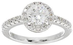 Diamonique & Simulated Gemstone Halo Ring, Platinum Clad