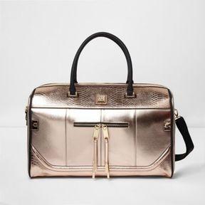 River Island Womens Rose gold metallic weekend bag