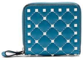 Valentino Rockstud Spike Zip Around Leather Wallet - Womens - Blue White