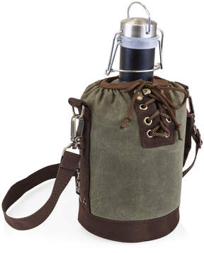 Picnic Time Khaki Green & Brown Insulated Growler Tote & Matte Black Growler