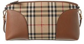 Burberry Horseferry Check & Leather Clutch Bag. - KHAKI - STYLE