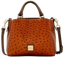 Dooney & Bourke Ostrich Mini Barlow Top Handle Bag. - BRONZE GREY - STYLE
