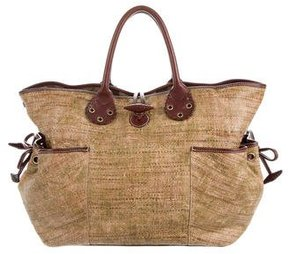 Burberry Leather-Trimmed Straw Bag - BROWN - STYLE