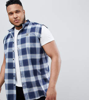 SikSilk PLUS Sleeveless Muscle Shirt In Blue Check Exclusive to ASOS