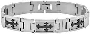 Lynx Stainless Steel Two Tone Sideways Cross Bracelet - Men