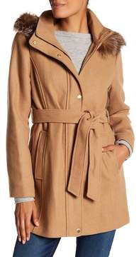 Ellen Tracy Hooded Genuine Fox Fur Trim Coat