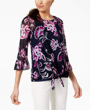 Alfani Printed Tie-Front Top, Created for Macy's