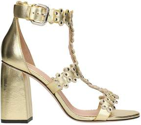 RED Valentino Gold Leather Flower Puzzle Sandals