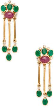 Amrapali Women's 18K Yellow Gold, Emerald, Ruby & 0.24 Total Ct. Diamond Drop Earrings