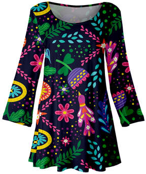 Lily Blue Abstract Floral Scoop Neck Tunic - Women & Plus