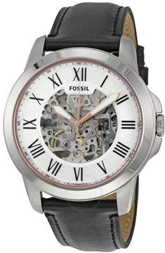 Fossil Grant Silver Skeleton Dial Automatic Men's Watch