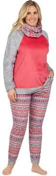 Cuddl Duds Plus Size Pajamas: Wake Up Call Top, Jogger Pants & Scarf 3-Piece PJ Set